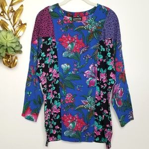 Boho Patchwork Floral Top Raglan Sleeves L